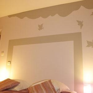 La décoration de la chambre Parme du blockhaus de domleger