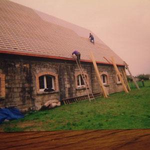 L'ellaboration de la toiture du blockhaus