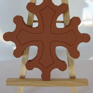 Croix occitane magnet diamètre 5 cm brut rouge