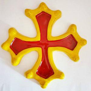Croix occitane semi évidée diamètre 33 émaillée jaune et rouge
