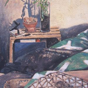"""H - Acrylique sur toile marouflée sur bois - 80 x 100 cm - 2018 - (détail) - Didier Goguilly - Sommeil et illusion """" Éros """" exposition à l'ARTSENAL"""