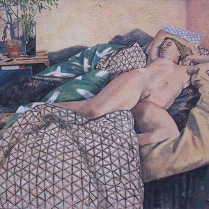 Hélène - Acrylique sur toile marouflée sur bois - 80 x 100 cm - 2018 - Sommeil et illusion