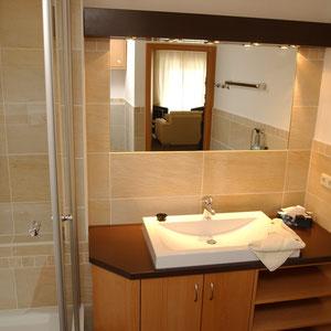 Dusche & Waschtisch und Toilette