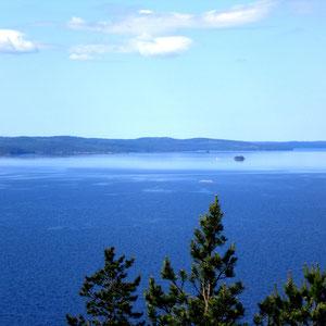 Nicht nur am Tag ein wundervoller, verschwiegener und einsamer Platz zum Träumen. Blick vom 1,5 km entfernten Aussichtsturm über den See. Erholung für das Auge.
