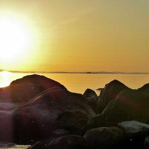 Paare finden am Ufer ein ungestörtes Fleckchen zum gemeinsamen Träumen beim Sonnenuntergang am See ...