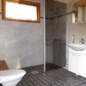Sie verwöhnen sich morgens gerne mit ausgiebigem Duschen? Freundliches Tageslicht-Duschbad mit Sauna, Fußbodenheizung, 270 l Boiler. Leise, abschaltbare Ventilation, Sehr leise Waschmaschine, Miele Toplader. Genügend Ablageflächen.