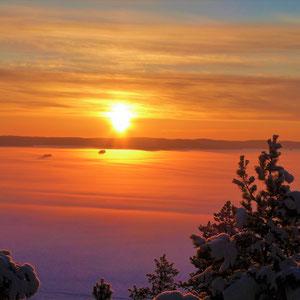 Finden Sie Ruhe und Gelassenheit hoch über der Winterlandschaft bei absoluter Stille, nur unterbrochen von den Geräuschen des Eisganges. Ein besonderes Erlebnis ist der zugefrorene Päijännesee vom 1,5 km entfernten Aussichtsturm gesehen.