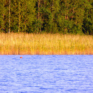 ... z.B. auf der gegenüberliegenden Seeseite der Bucht vor dem Haus und in den Buchten Richtung Sysmä.
