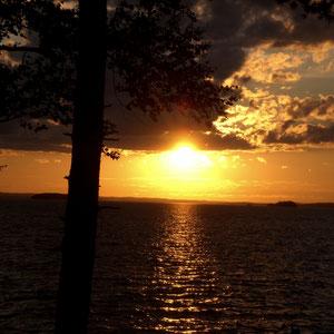 Sonnenuntergang am Ufer, ca. 100 m von Ihrem Ferienhaus.