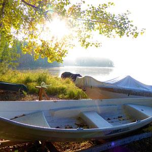 Unternehmen Sie im Herbst letzte Bootstouren im Jahr zum Angeln, Krebse fangen und erleben Sie den Zauber dieser Jahreszeit am See.
