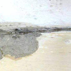 Wohnzimmer, Vorzustand mit Feuchteschaden und Schimmel