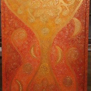 """""""Atlantis- Die Lilith erwacht"""" ,  aktuell in der Galerie Monti verkäuflich50x70cm, Acryl auf Leinen, Preis auf Anfrage"""