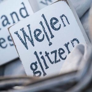 Unikat | Wellenglitzern  | Wort Art Holz bedruckt | Sieb & Seele