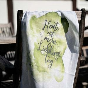 Geschirrtuch Siebdruck | Lieblingstag | Textilkunst | Sieb & Seele