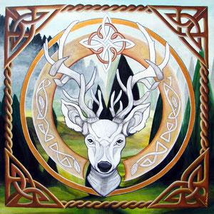 Mandala Cerf - Acrylique sur toile (50x50cm 3D - vendu) - © B. Dupuis
