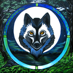 Mandala Loup - Acrylique sur toile (50x50cm 3D - Vendu) - © B. Dupuis