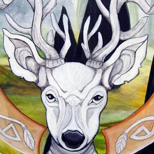 Mandala Cerf (détail) - Acrylique sur toile (50x50cm 3D - vendu) - © B. Dupuis