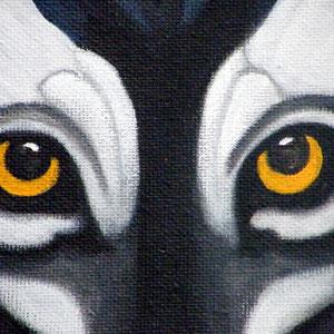 Mandala Loup (détail) - Acrylique sur toile (50x50cm 3D - Vendu) - © B. Dupuis