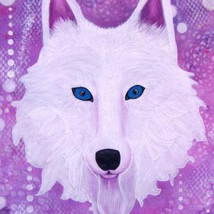 L'esprit du Loup blanc, acrylique et encres sur toile 50x50 cm (250€) - ©B. Dupuis