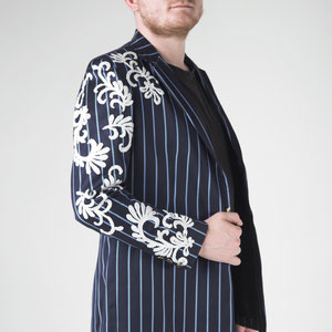 Tailored mens jacket inspired by Versace with lace appliques and gold buttons.