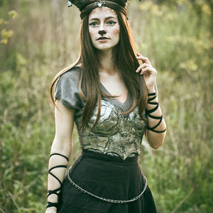 Faun-inspired costume with thermoplastic breastplate and hand-made horns.