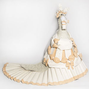 Marie Antoinette inspired half dress made from book pages and wallpaper.