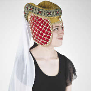 Flat pattern medieval hennin hat decorated with many pearls and a hand painted trimming.