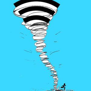 ilustración para XIV Concurso Internacional de humor gráfico sobre nuevas tecnologías. Hermes de Barakaldo.