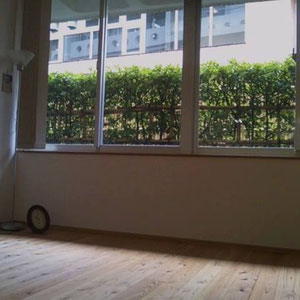 ビルの1階ですが、半地下なので人も通らず、窓の外から緑の植え込みと竹垣が見えます