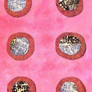 Paradigma. (c) Repurposed vinyl, acrylics, photo transparency. Sandra Pérez-Ramos.
