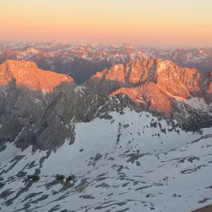 Alpenglühen auf der Zugspitze, ein tolles Schauspiel