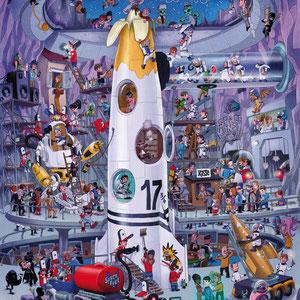Lustige Wimmelbild Illustration für Puzzle, 1.000 Teile - Titel: Raketenstart - Thema: Nahe Zukunft/ James Bond  - Verlag: Athesia (früher Heye)