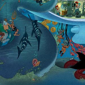 Lustige Wimmelbild Illustration für Puzzle (Detail 5) - Submarine / U-Boot - Verlag: Athesia (früher Heye)