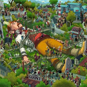 Lustige Wimmelbild Illustration für Puzzle, 1.000 Teile - Titel: Gulliver - Verlag: Athesia (früher Heye)