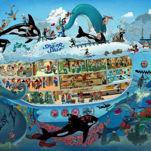 Lustige Wimmelbild Illustration für Puzzle - Submarine / U-Boot - Verlag: Athesia (früher Heye)