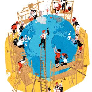 Wimmelbild Illustration für Titelseite - Thema: Alle können mithelfen, jeder trägt Verantwortung - Kunde: Greenpeace Magazin