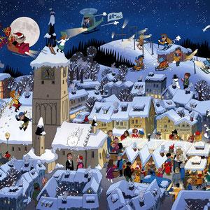 Wimmelbild Illustration für die Stadt Deggendorf - Adventskalender Din A3 - Agentur: Kreativ Impuls