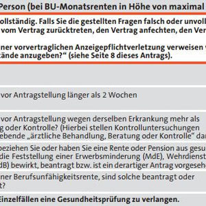 Altes Antragsformular Württembergische Bonus-BU  (bis Ende 2014 verwendet)