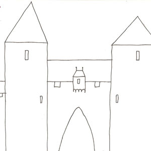 Diese Zeichnung soll ein Tor darstellen, dass von zwei Türmen flankiert wird. Über dem Tor sitzt ein Erker. Durch diesen wurden heiße Flüßigkeiten wie z.B. Pech oder heißes Wasser gestüttet. Es wurden aber auch  Steine und andere Sachen hindurchgeworfen.