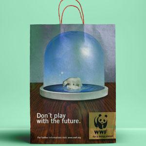 """Anzeige/Tütendruck """"Eisbär"""", Freie Arbeit für den """"WWF"""""""