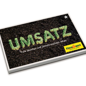 Mailing mit wachsendem Rasen, Kunde: Floragard Vertriebs GmbH für Gartenbau