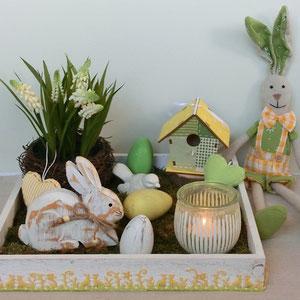 Tischdekoration Frühlingssonne und Osterhasen
