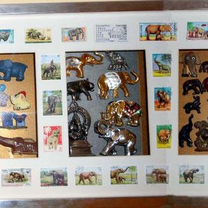 Miscelanea de elefantes Top2 (cristal, denenes, joyería, maderas, piedras semipreciosas) encerrados en sellos
