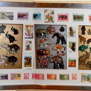 Miscelanea de elefantes Top1 (cristal, cerámica, metal, piedras semipreciosas) encerrados en sellos