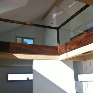 Glas-Geländer - Akazie massiv gedämpf und geölt