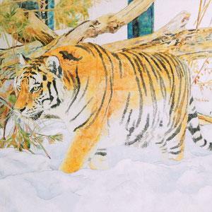 《雪中虎》 33.3×45.5cm 2016