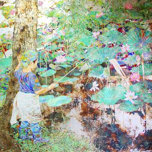 《夏日》 162.0×162.0cm 2014  /第16回雪梁舎フィレンツェ賞展 佳作