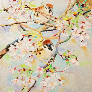 《春に憩う》  41.0×27.3cm 2015