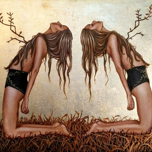 Twins , Acryl und Schlagmetall auf Leinwand, 40x50cm, 2017, Lilyarts, Pia Staudacher