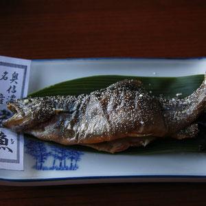 岩魚は焼き加減が絶妙!プロの技。とてもおいしかった